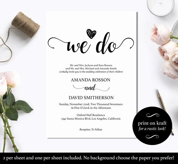 Black and White Invitation Template Inspirational Black and White We Do Wedding Invitation Template Instant