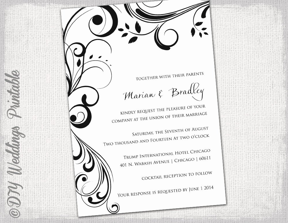 Black and White Invitation Template Inspirational Wedding Invitation Templates Black and White