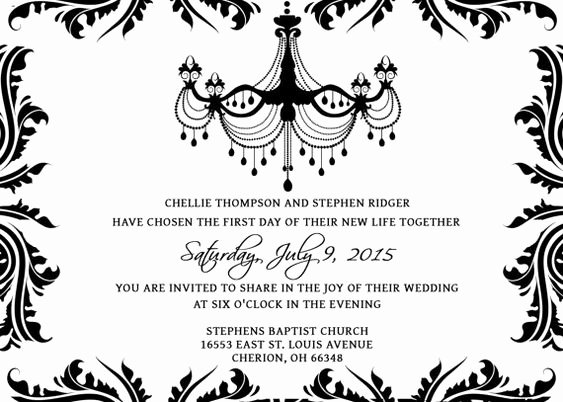 Black and White Invitation Template Inspirational Wedding Invitations Template Set Psd Shop Gimp Damask Chandelier Black White