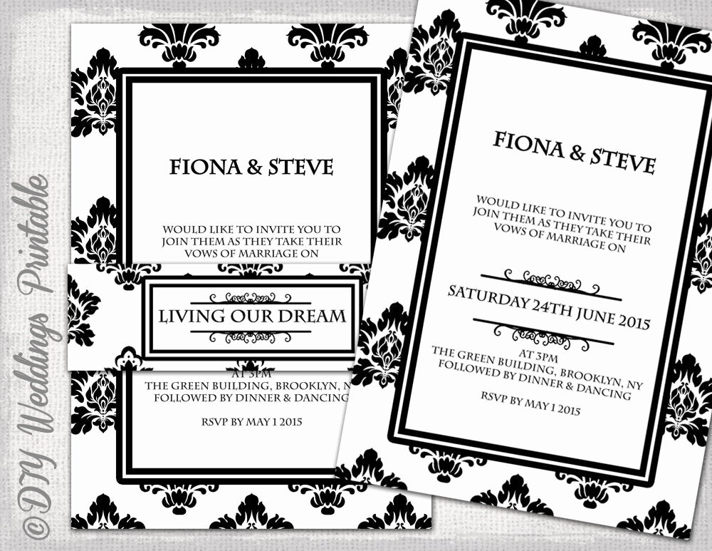 Black and White Invitation Template Lovely Wedding Invitation Template Black & White Damask Diy Classic