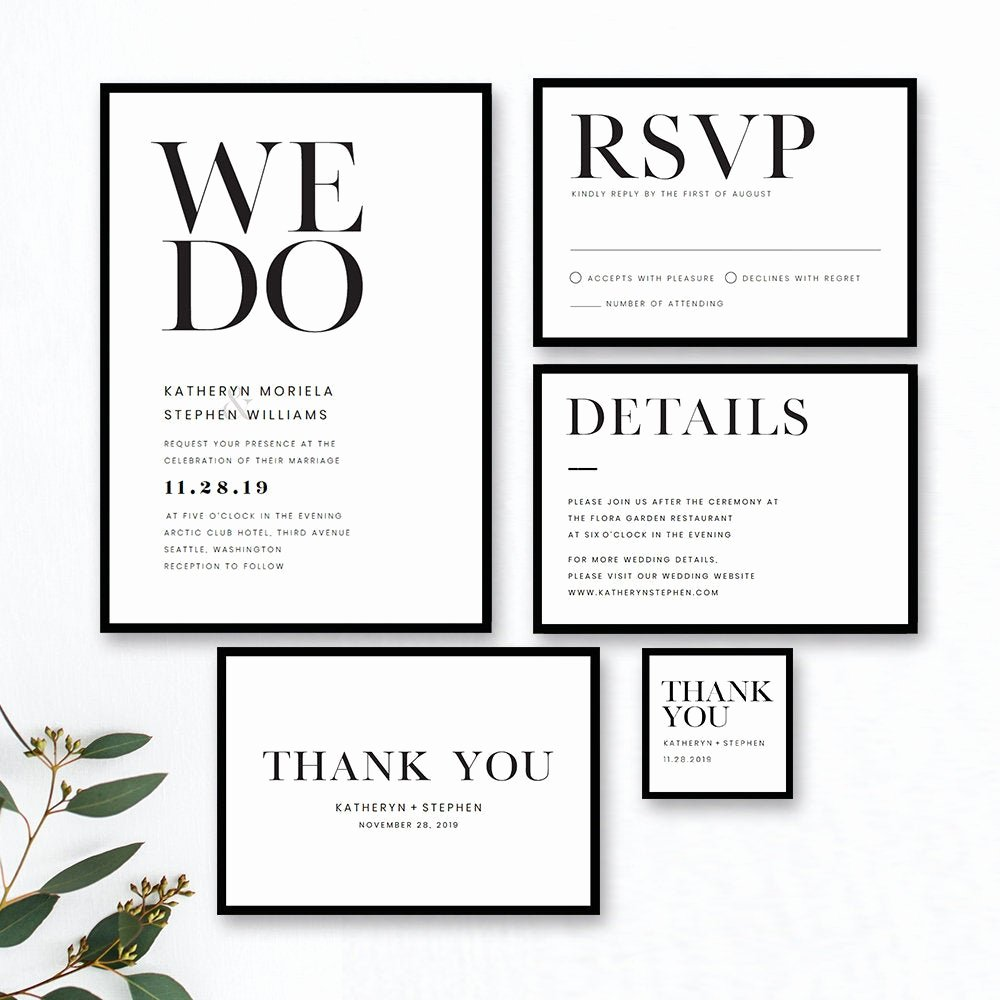 Black and White Invitation Template Unique Minimalist Wedding Invitation Templates Modern Black White