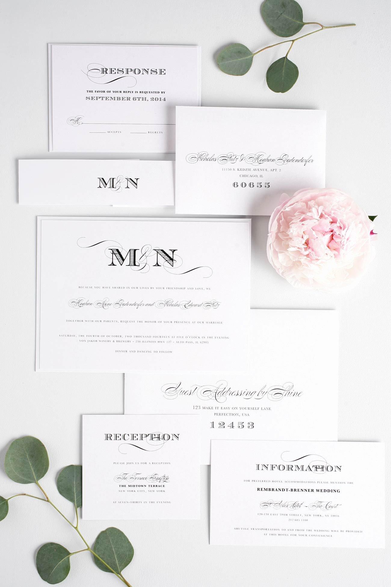 Black and White Invitations Beautiful ornate Elegant Wedding Invitations In Black and White – Wedding Invitations