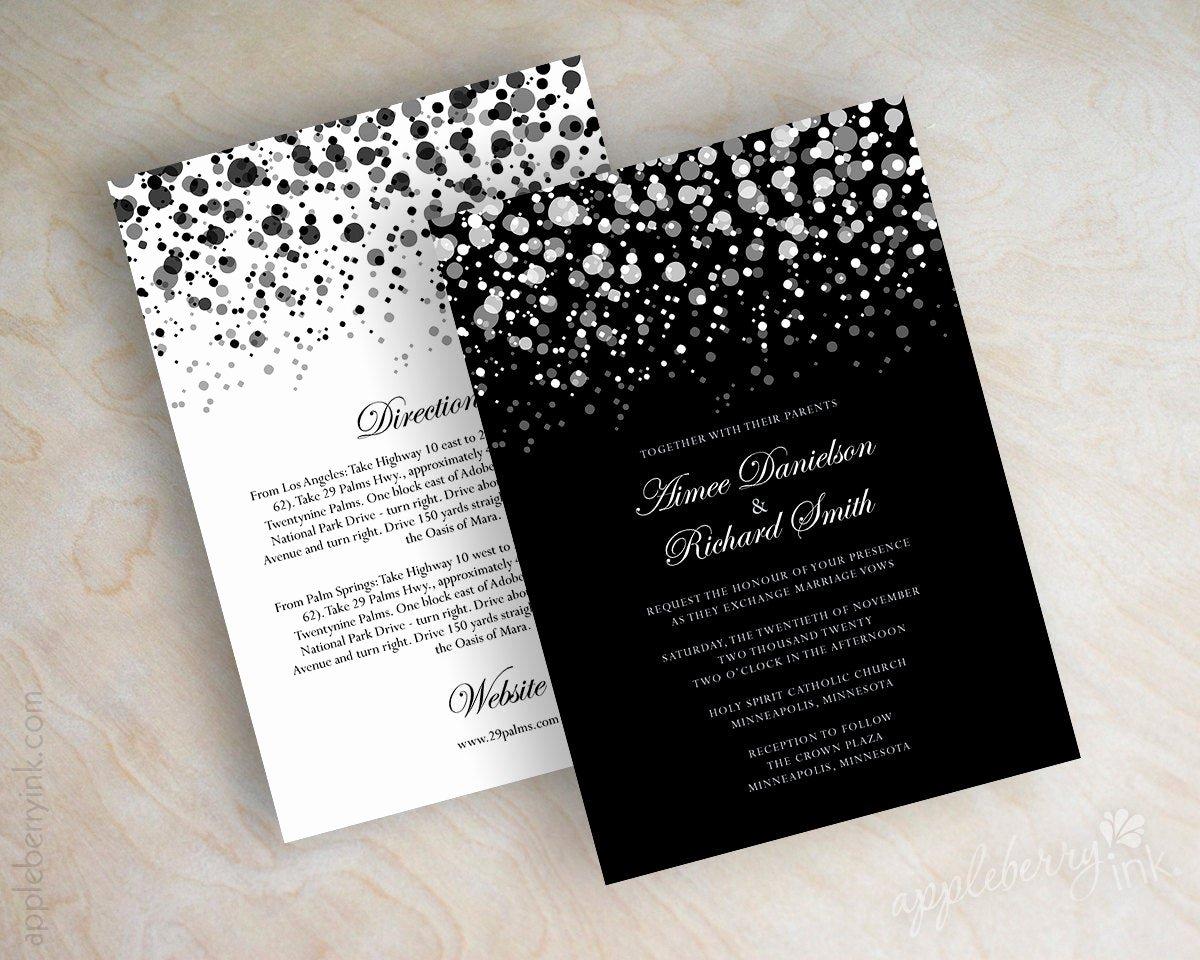 Black and White Invitations Lovely Black and White Polka Dot Wedding Invitation Modern Polka