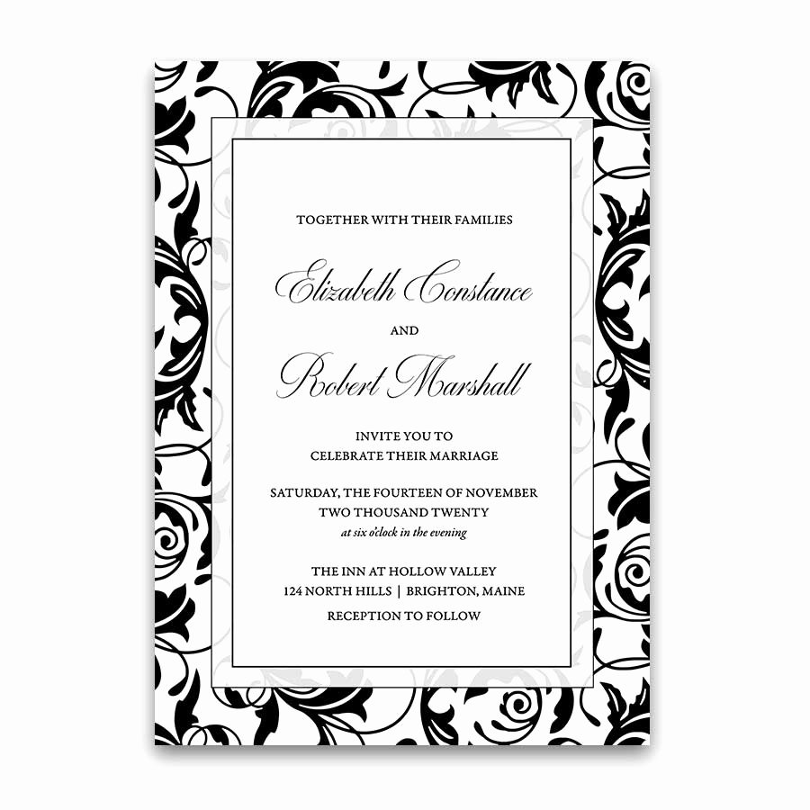 Black and White Invitations Lovely Damask Wedding Invitations Elegant formal Black and White