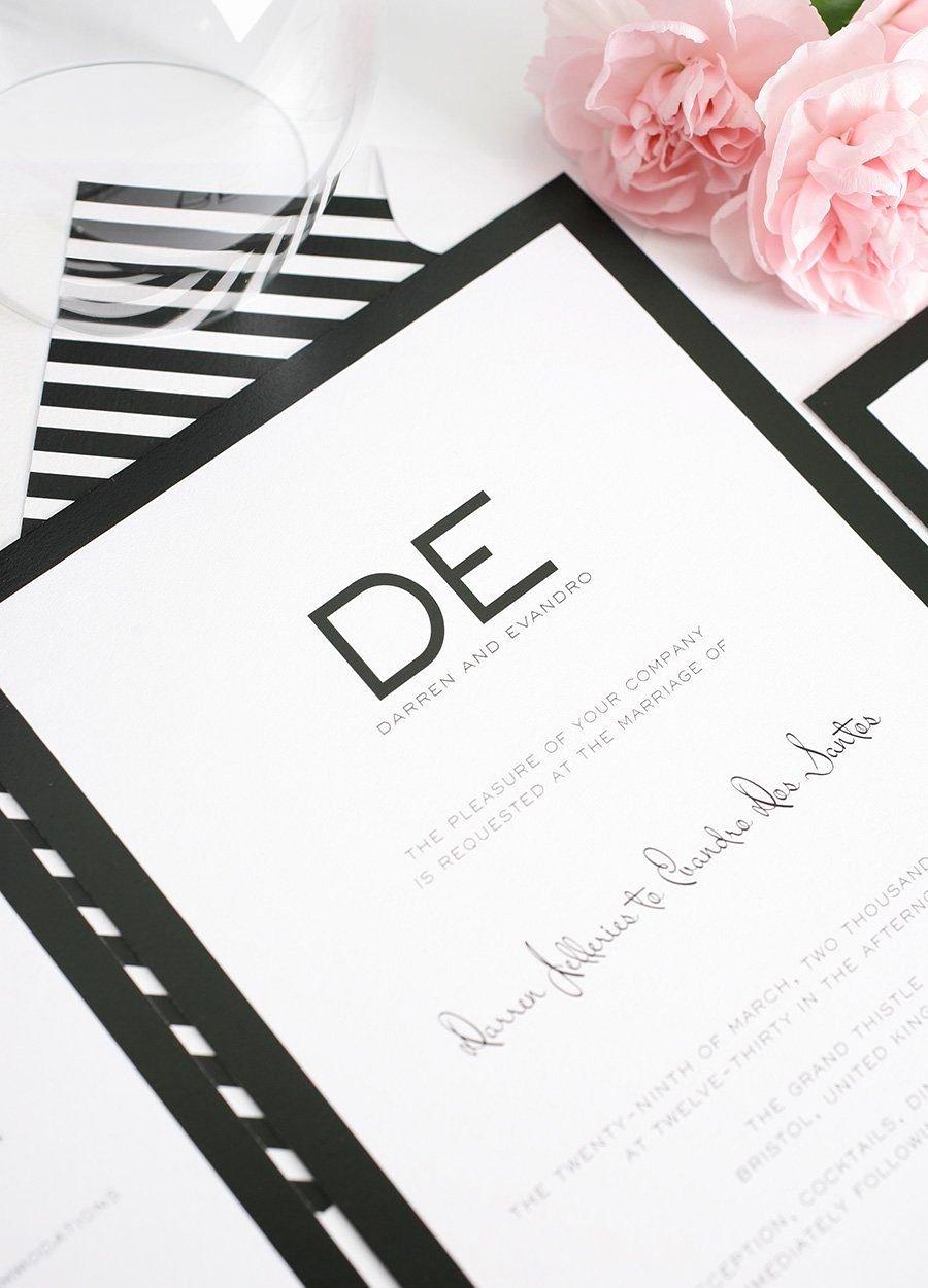 Black and White Invitations Lovely Modern Wedding Invitations In Black and White – Wedding Invitations