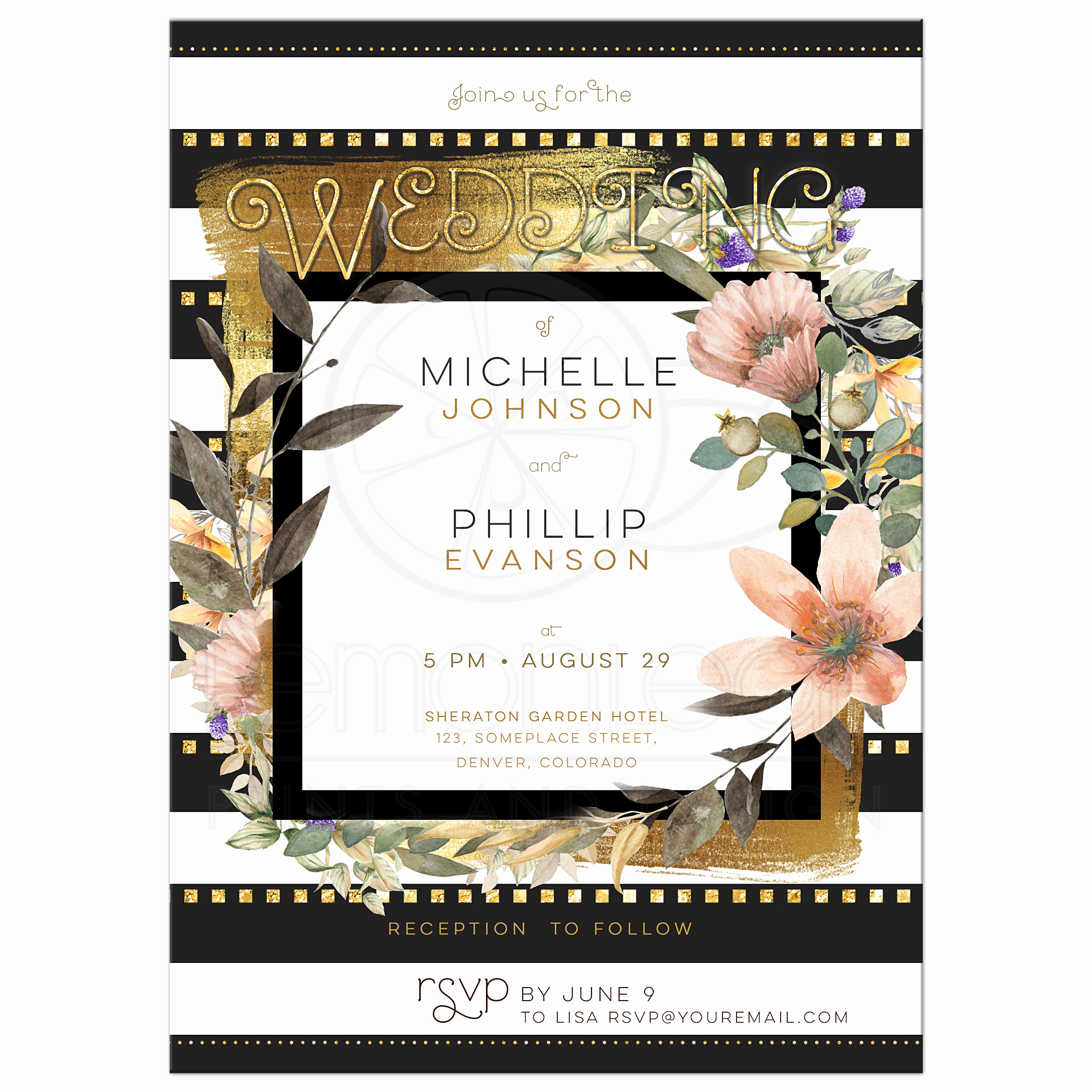 Black and White Invitations Luxury Modern Chic Wedding Gold Black White Stripes & Floral Invitation