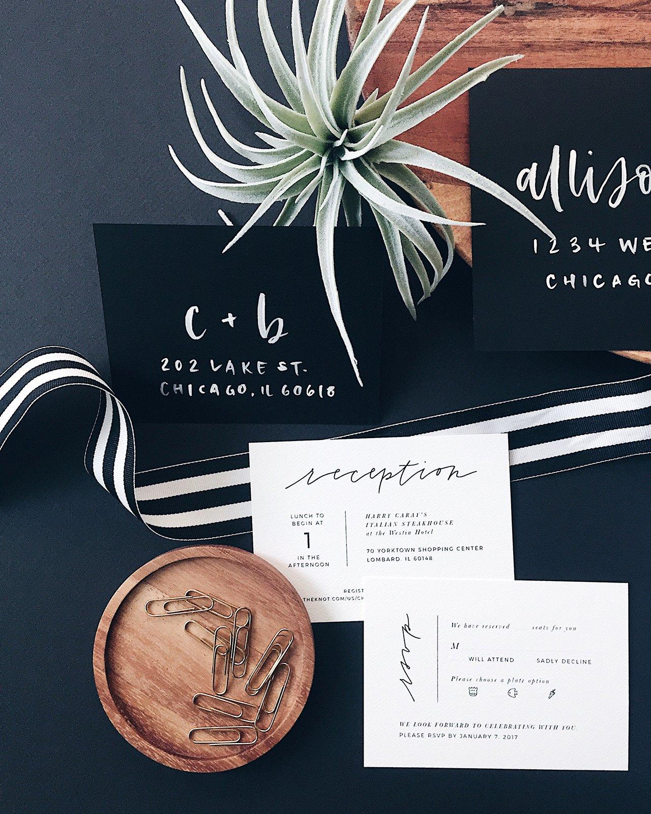 minimalist black white hand lettered wedding invitations
