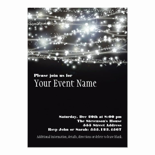 Black and White Invitations New Sparkling Stars Black and White Party Invitation