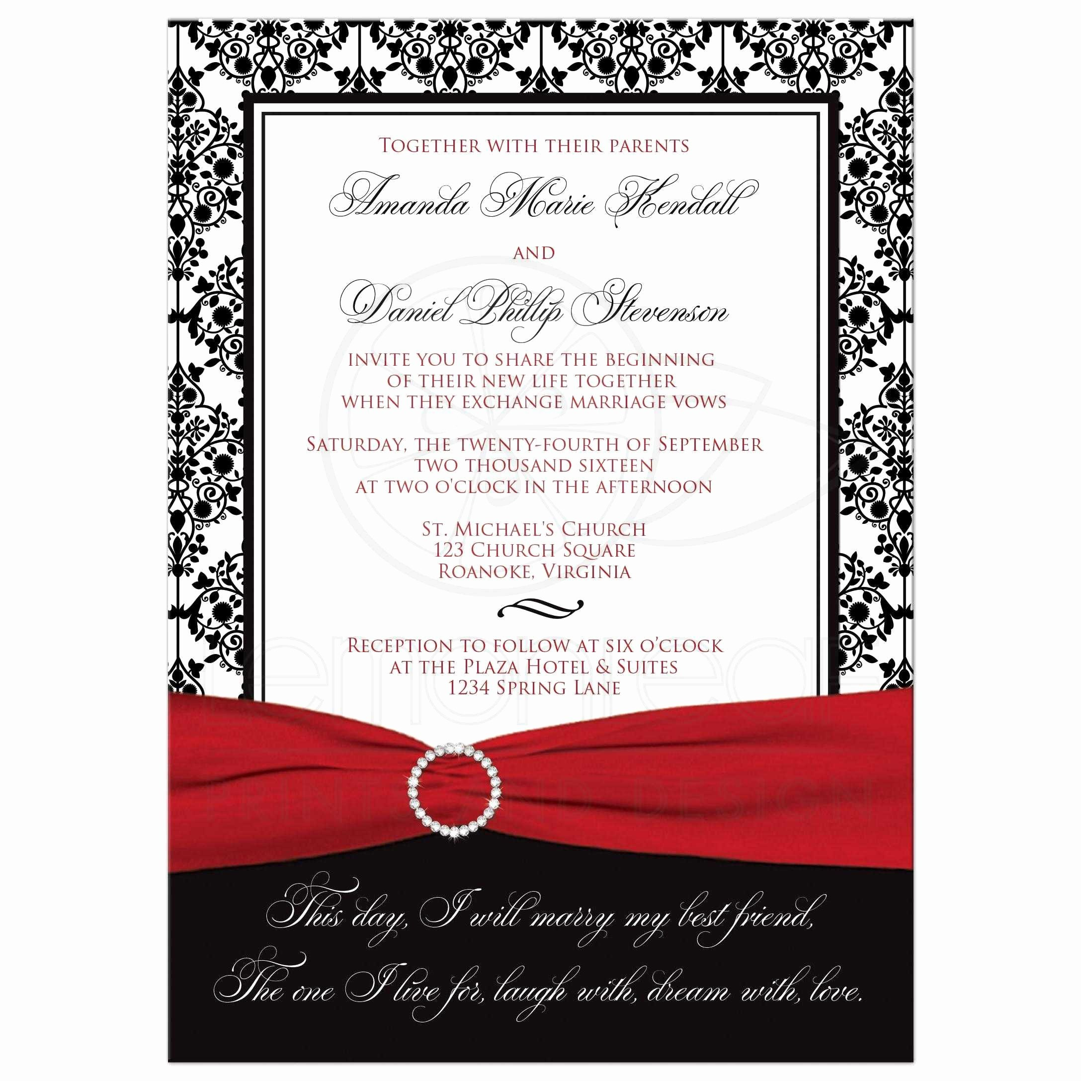 Black and White Invitations New Wedding Invitation Black White Damask Printed Red Ribbon