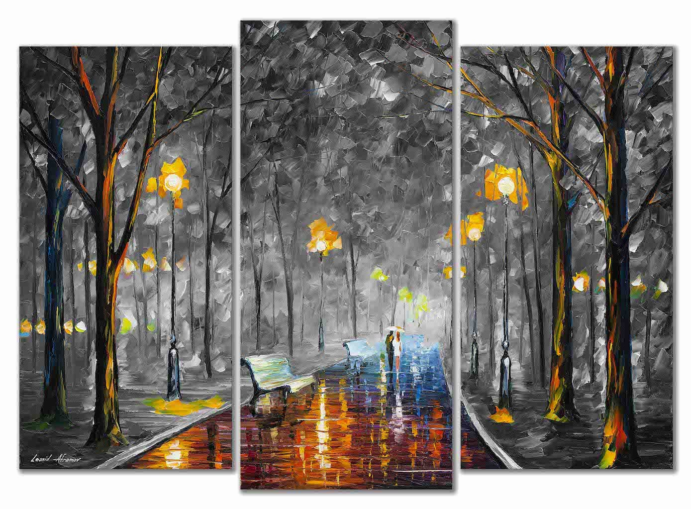 Black and White Paintings Best Of Misty Mood Set Of 3 Black and White Palette Knife Oil Paintings Canvas by Leonid Afremov