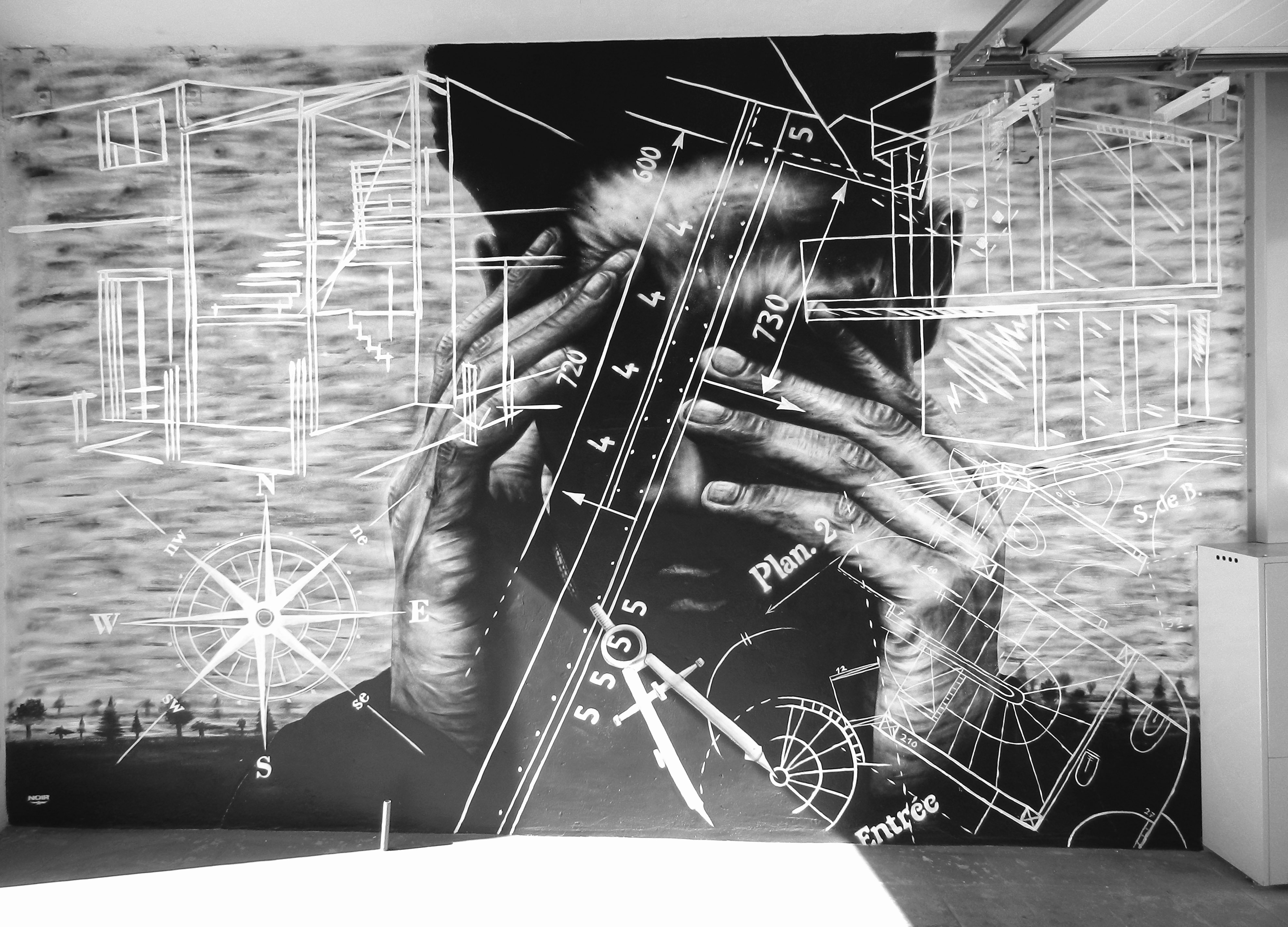 Black and White Paintings Luxury Artist Known as Noir S Black & White Murals