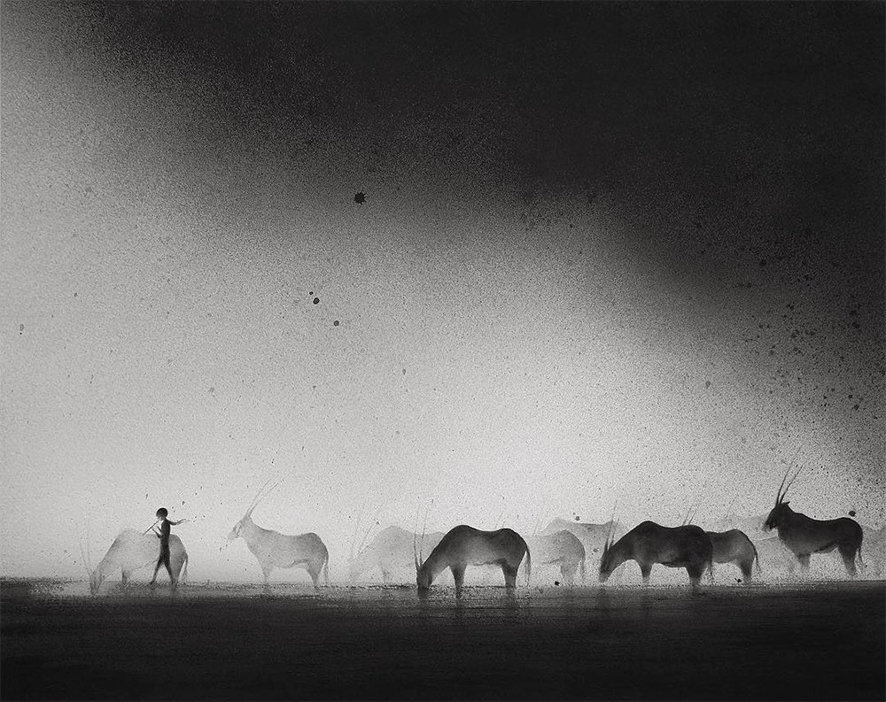 hazey black watercolor paintings of children with animals by elicia edijanto