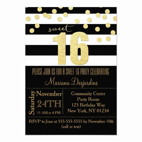 Black and White Party Invitations Luxury Sweet 16 Party Invitation Gold Black White