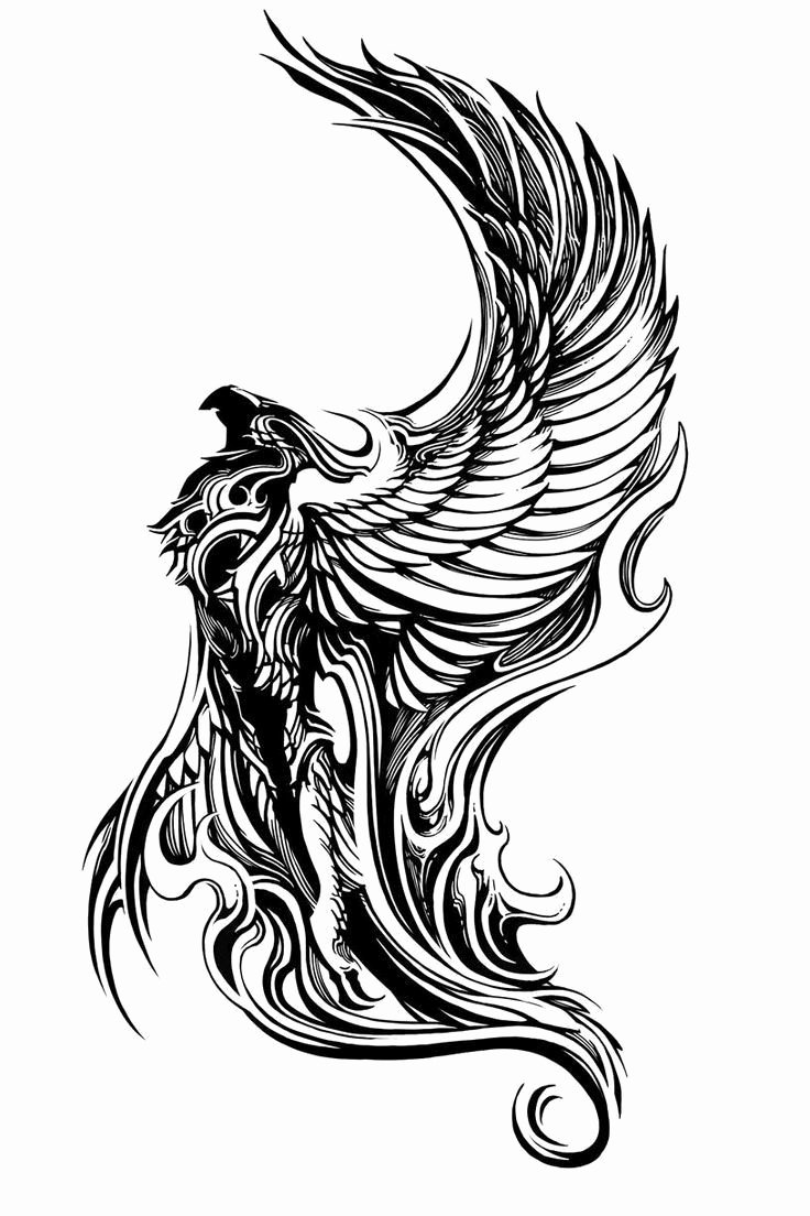 Black and White Phoenix Awesome Breathtaking Black and White Flying Phoenix Tattoo Design Tattooimagesz