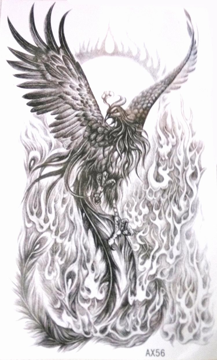 Black and White Phoenix Fresh Aliexpress Buy Black White Phoenix Vs Fire Nirvana Gain Life Again Temporary Tattoo