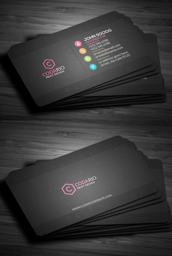 Black Business Card Template Elegant Sleek Dark Black Business Card Businesscards Visitingcards Printtemplates
