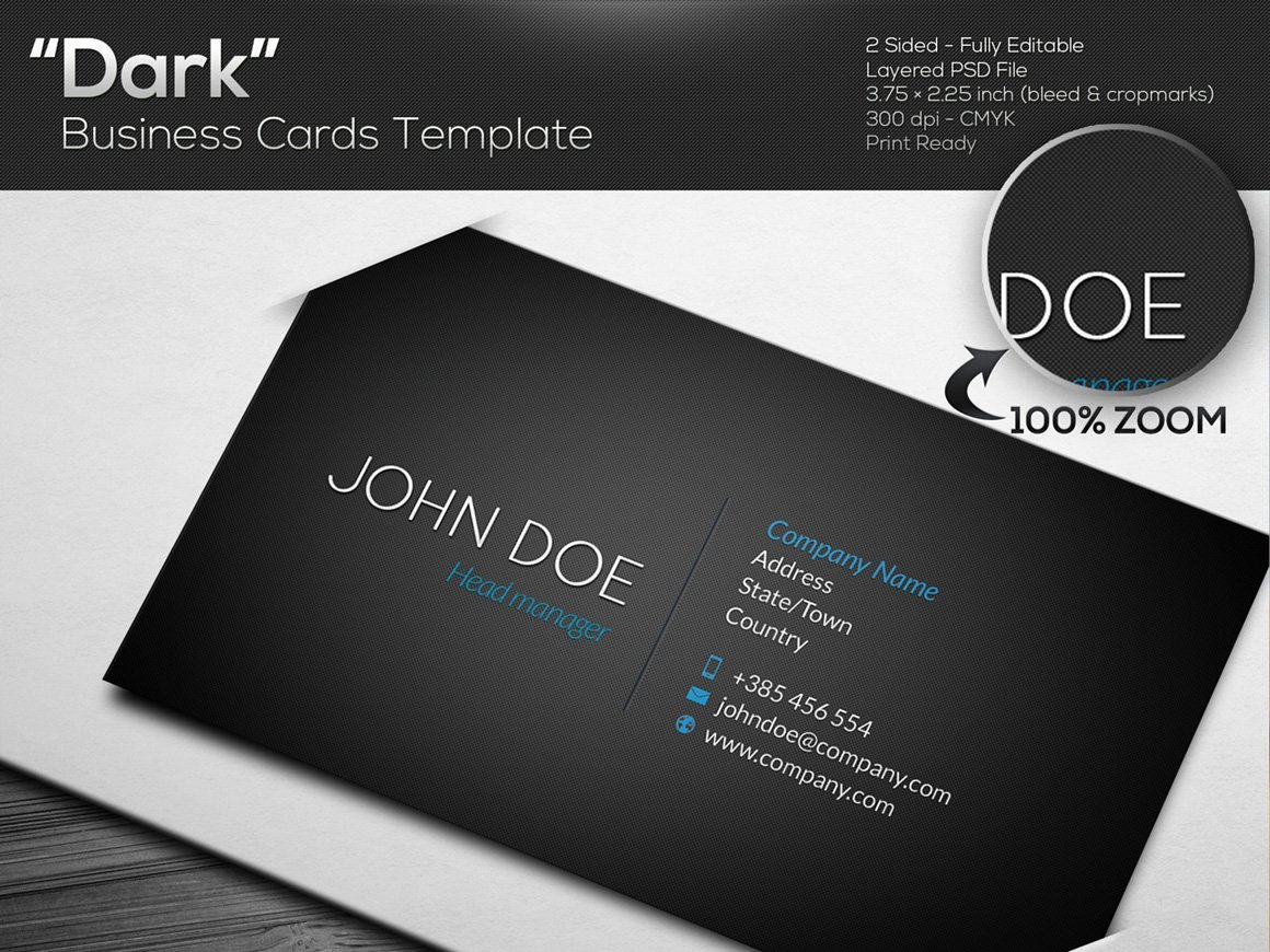 Black Business Card Template Lovely Dark Black Business Card Template Business Card Templates Creative Market