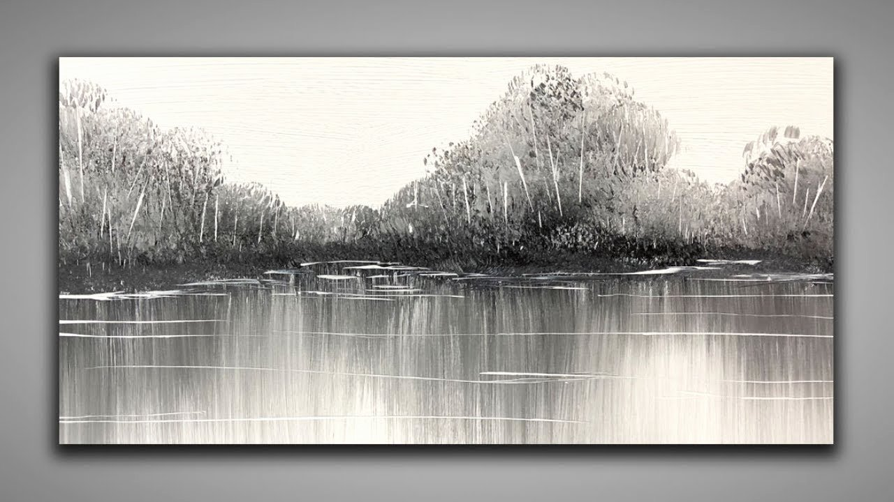 Black White Abstract Painting Awesome Black & White Easy Landscape 147 Relaxing for