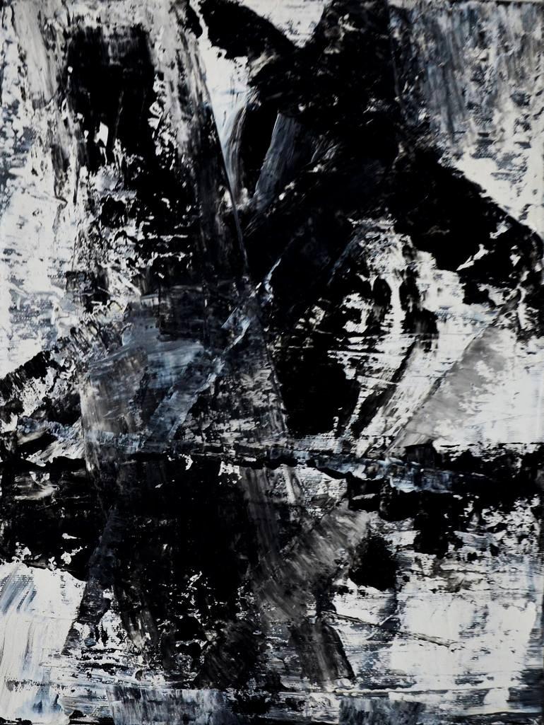 Black White Abstract Painting Elegant Black and White Abstract Painting by Leon Grossmann