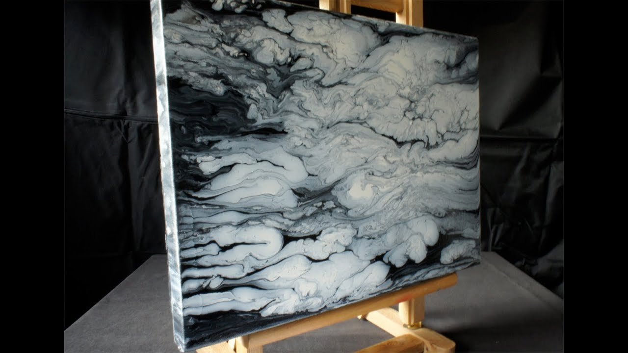 Black White Abstract Painting Lovely Acrylmalerei Demo Fluid Acrylic Painting Black White