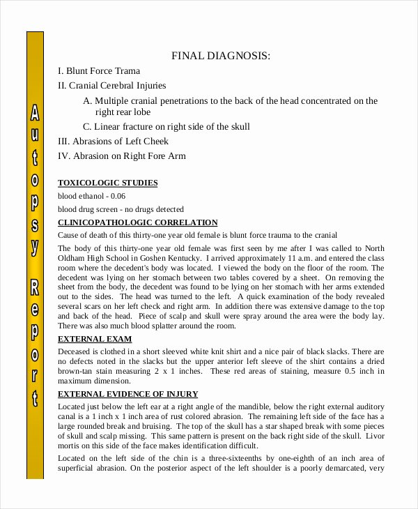 Blank Autopsy Report Template Elegant Autopsy Report Template 6 Free Word Pdf Documents Download
