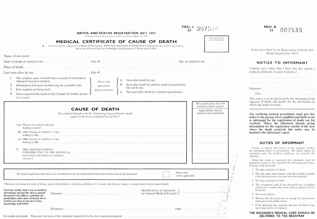 Blank Autopsy Report Template New Death Certificate Uk