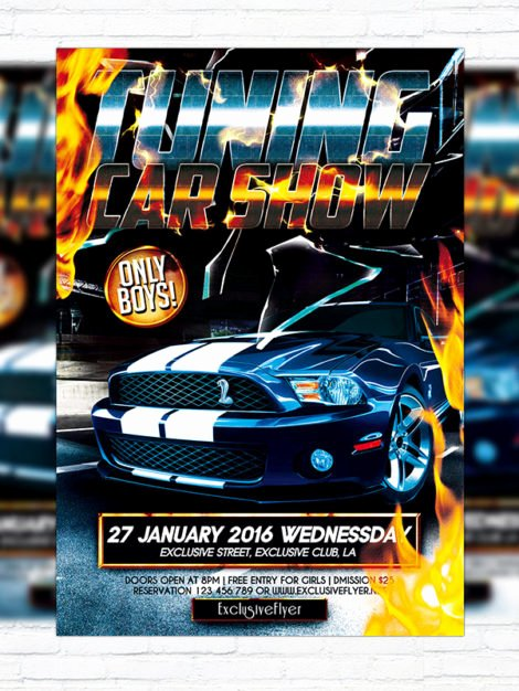 Blank Car Show Flyer New Tuning Car Show – Premium Flyer Template Cover Exclsiveflyer