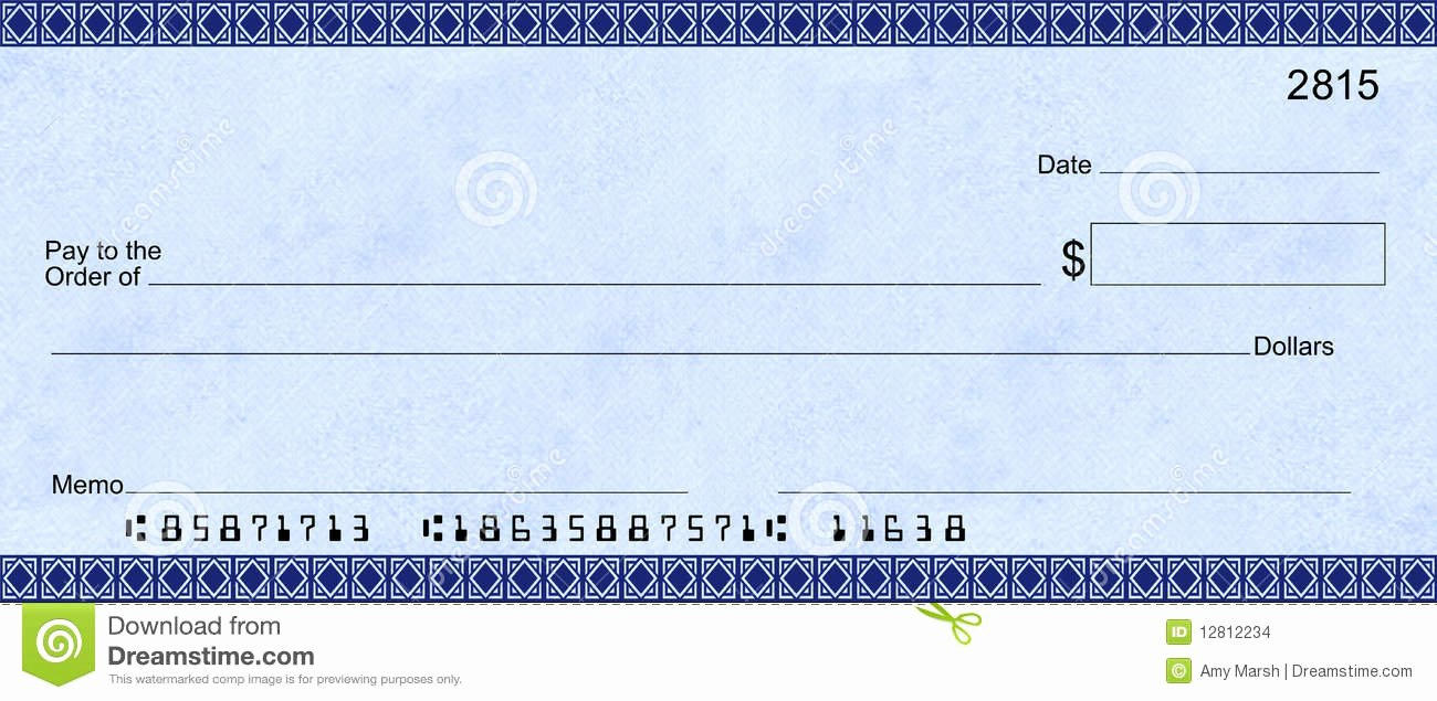 Blank Cashiers Check Template Awesome Blue Deco Check with False Account Numbers Stock