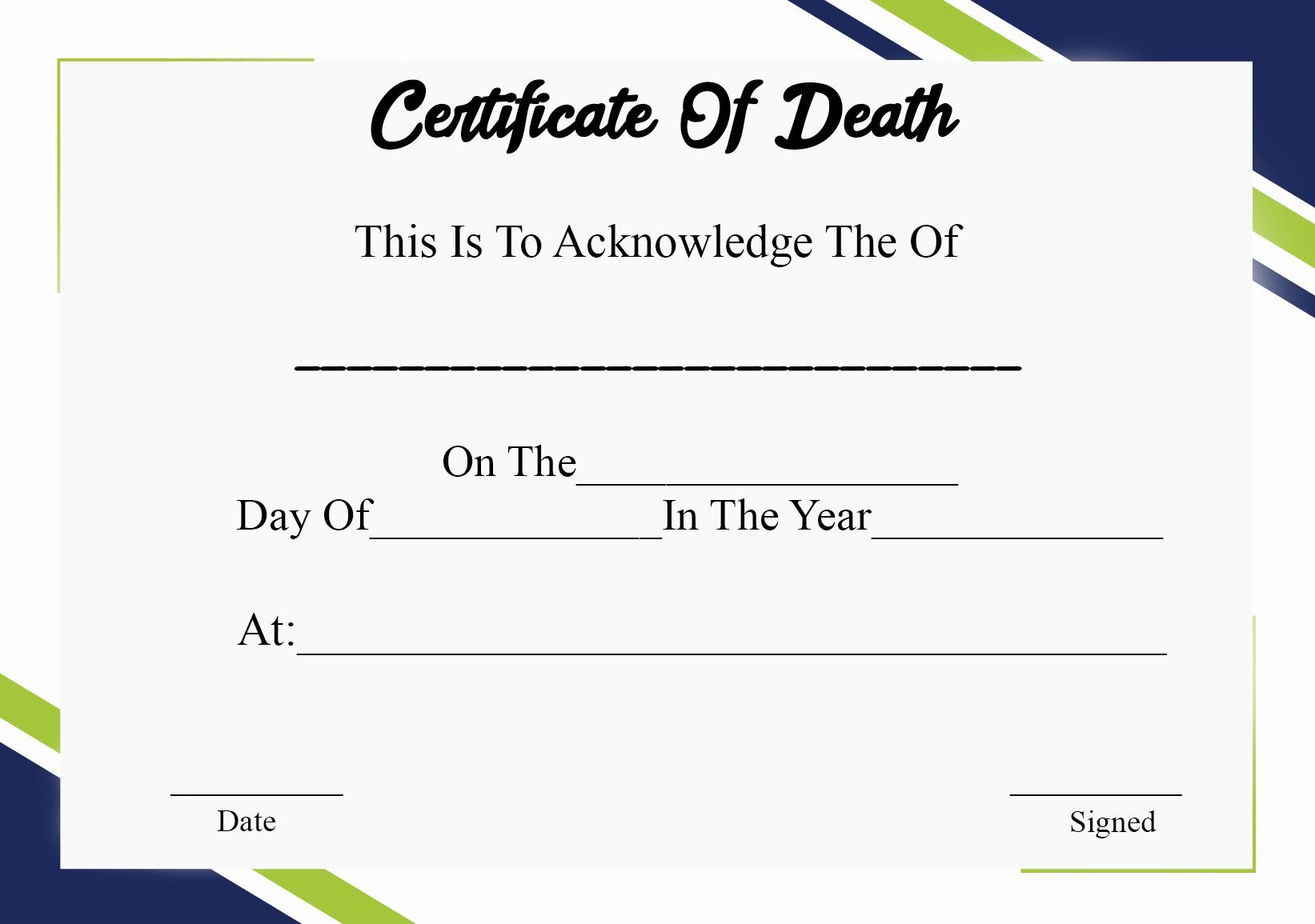 Blank Death Certificate Template Beautiful 5 Printable Certificate Death Templates with Samples