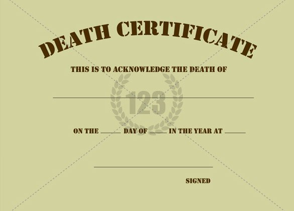 Blank Death Certificate Template Inspirational Blank Death Certificate Template Sample Govinfo