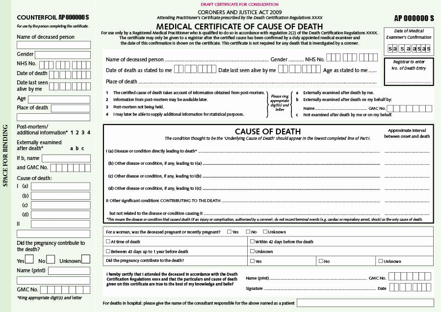 Blank Death Certificate Template Lovely 37 Blank Death Certificate Templates [ Free] Template Lab