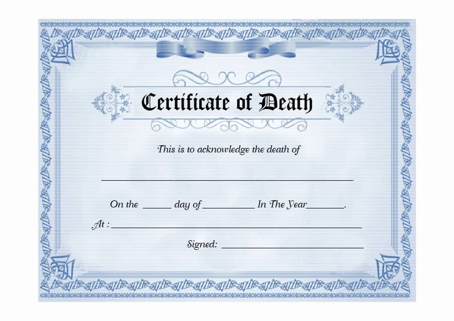 Blank Death Certificate Template Luxury 37 Blank Death Certificate Templates [ Free] Template Lab