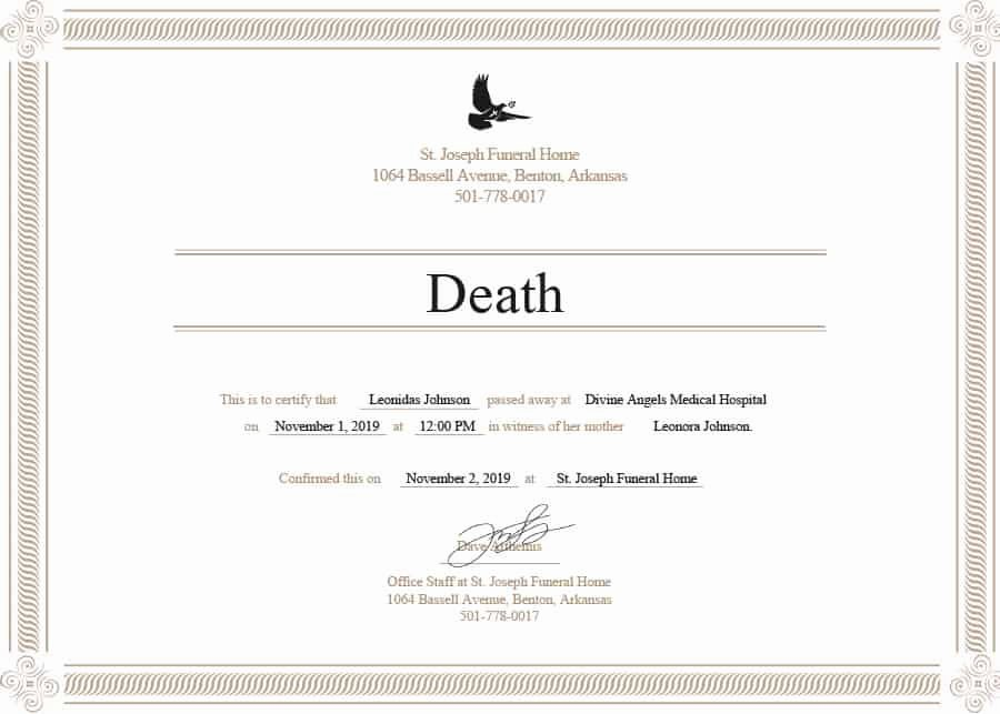 Blank Death Certificate Template New 37 Blank Death Certificate Templates [ Free] Template Lab