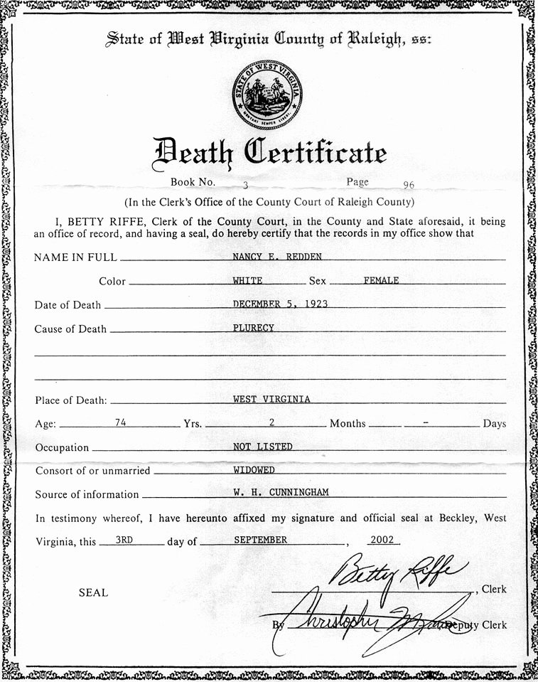Blank Death Certificate Template New the Descendants Of William Redden Sr