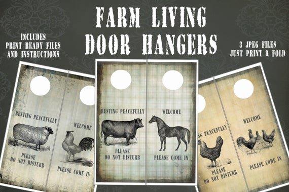 Blank Door Hanger Template Lovely Farm Living Door Hangers and Template Instant Download 3
