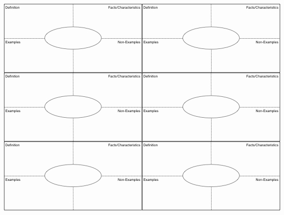 Blank Frayer Model Template New Vocabulary Foldable Template