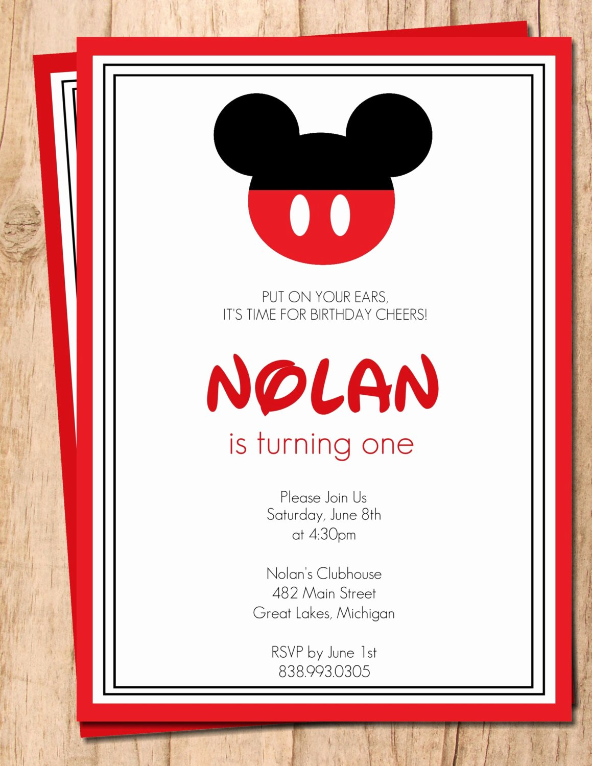 Blank Mickey Mouse Invitations Best Of Mickey Mouse Red and Black Printable Birthday Invitation