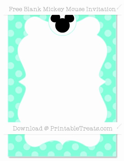 Blank Mickey Mouse Invitations Fresh Free Aquamarine Dotted Pattern Blank Mickey Mouse