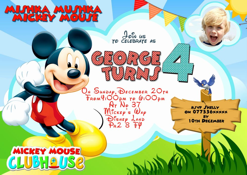 Blank Mickey Mouse Invitations Inspirational Personalised Birthday Party Invitations Mickey Mouse 8