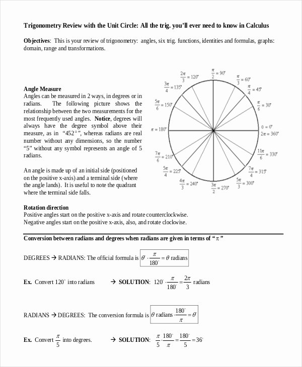 Blank Unit Circle Pdf New 16 Unit Circle Chart Templates Free Sample Example format