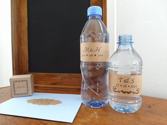 Blank Water Bottle Labels Elegant Water Bottle Label Diy Brown Kraft Blank Labels Eco Friendly