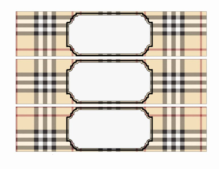 Blank Water Bottle Labels Lovely Burberry Inspired Water Bottle Labels Vcdiy