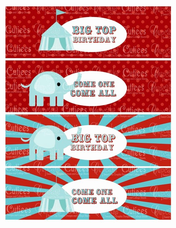 Blank Water Bottle Labels New Items Similar to Vintage Circus Digital Water Bottle