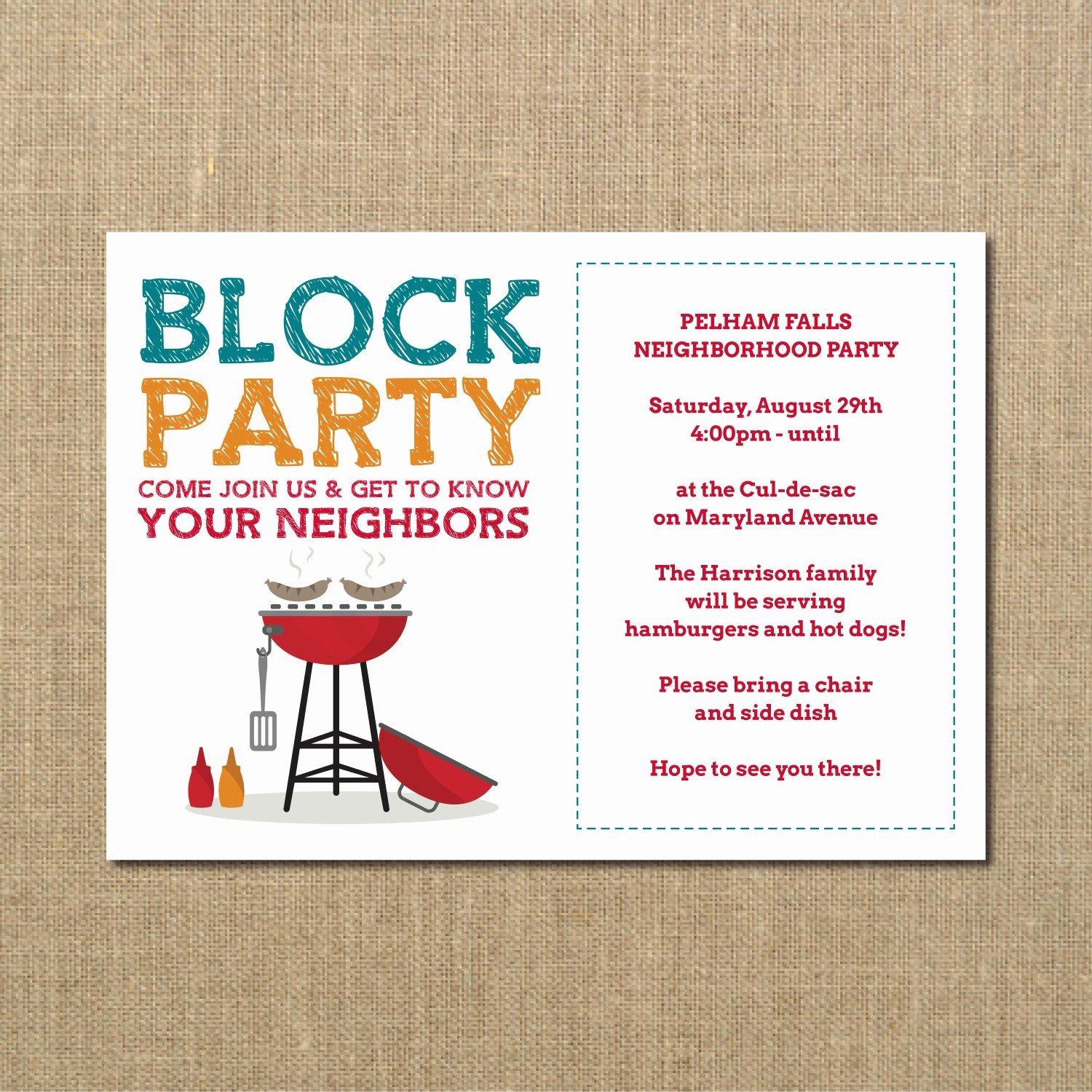 Block Party Flyer Template Best Of Neighborhood Block Party Cookout Invitation Grilling Out