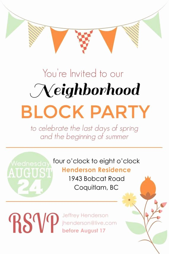 Block Party Flyer Template Free Lovely Items Similar to Summer Block Party Backyard Bbq Invitation Digital File Printable