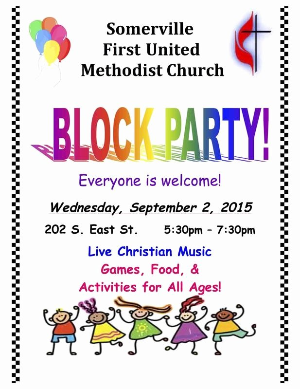 Block Party Flyer Template Fresh Munity Block Party somerville First Umc somerville Tn