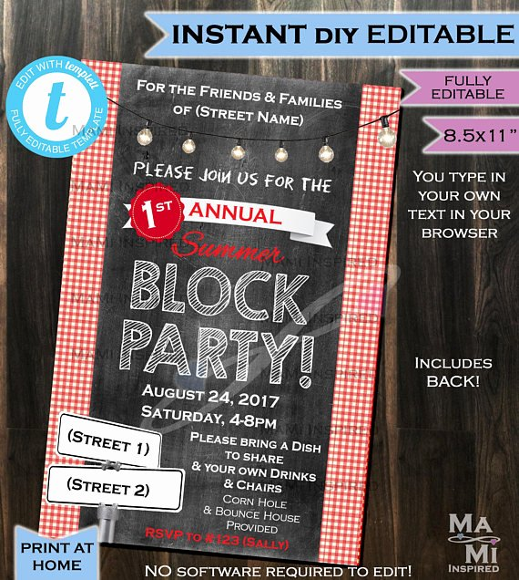 Block Party Flyer Template Inspirational Block Party Invitation Flyer Street Party Neighborhood Invite