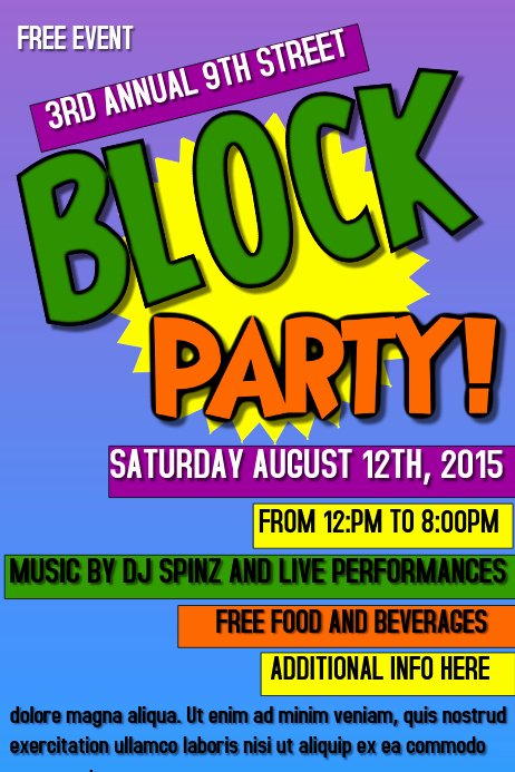 Block Party Flyer Template Luxury Block Party Template