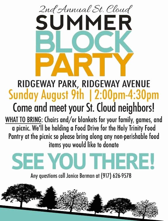 Block Party Flyer Template Luxury St Cloud Summer Block Party Held with A Food Drive for Holy Trinity Food Pantry West orange