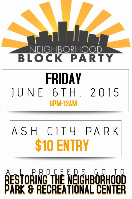 Block Party Flyer Template Unique Neighborhood Block Party Flyer Poster Template